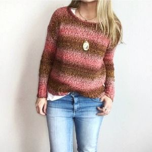American Eagle Pink Brown Striped Chunky Sweater